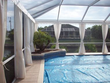 Lanai curtains custom outdoor privacy curtains for your for Pool privacy screen