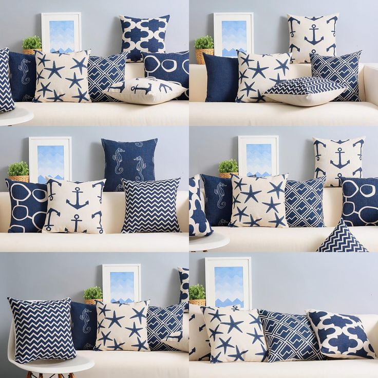 [Visit to Buy] Custom made Mediterranean style Cushion elegant navy blue Chair Cushion American geometric abstract Cushions For Sofas #Advertisement