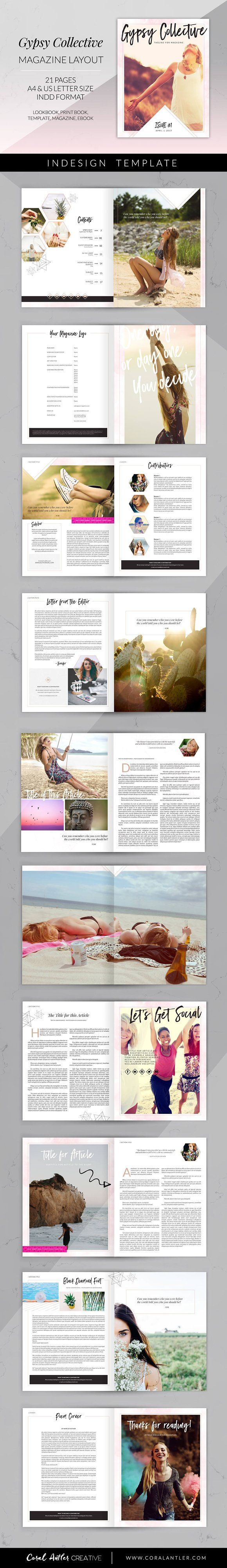 Gypsy Collective Magazine Layout by Coral Antler Creative on @creativemarket