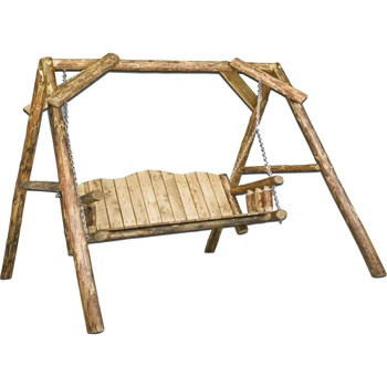 Glacier Country Rustic Lawn Swing w/ A-Frame
