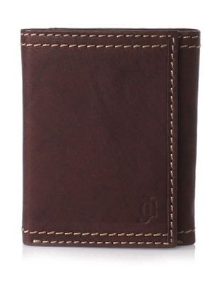 J.Campbell Los Angeles Men's Leather Trifold Wallet with Embossed Logo and Contrast Stitching