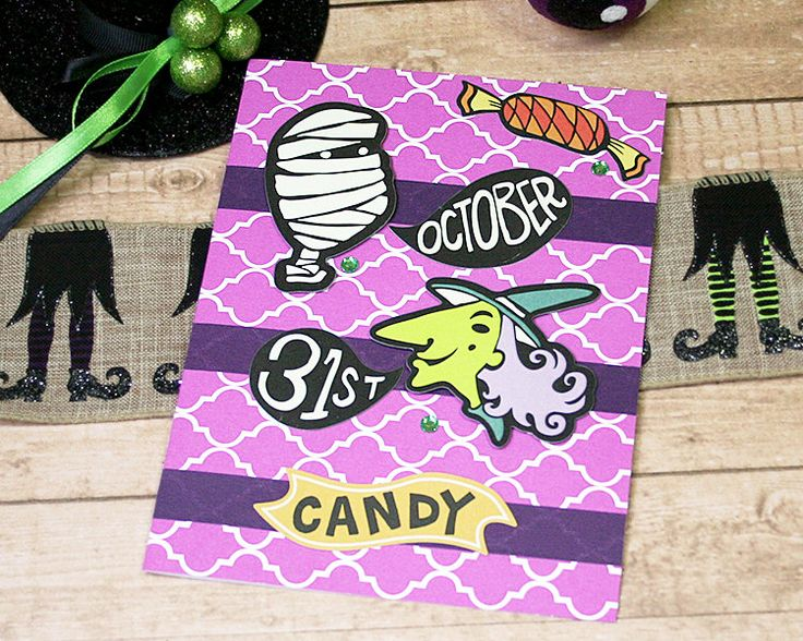 """October 31 Purple Halloween Greeting Card, Mummy, Witch, Candy, Trick or Treat, Boo, Fun - 5"""" x 6.5"""" by PaperDahlsLLC on Etsy"""