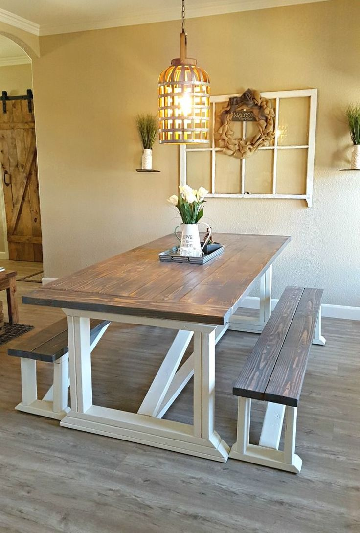 I followed Ana White's DIY farmhouse table plans to build our new dining room table. Finish the table with chalk paint and two stains to get this look.