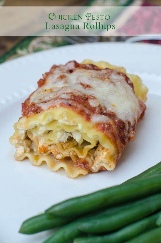Chicken Pesto Lasagna Rollups