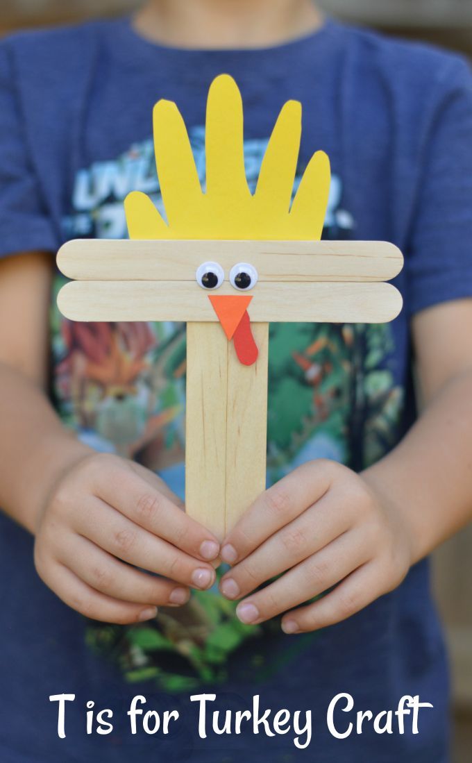 "T is for Turkey Craft is a great Thanksgiving craft for preschoolers working on letters. It's a fun, festive way to reinforce learning of the letter ""T""."