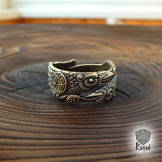 Odins Raben-Ring. Huginn und Muninn Ring. Raven Sie Ring. von RuyaN /Nordische Mythologie