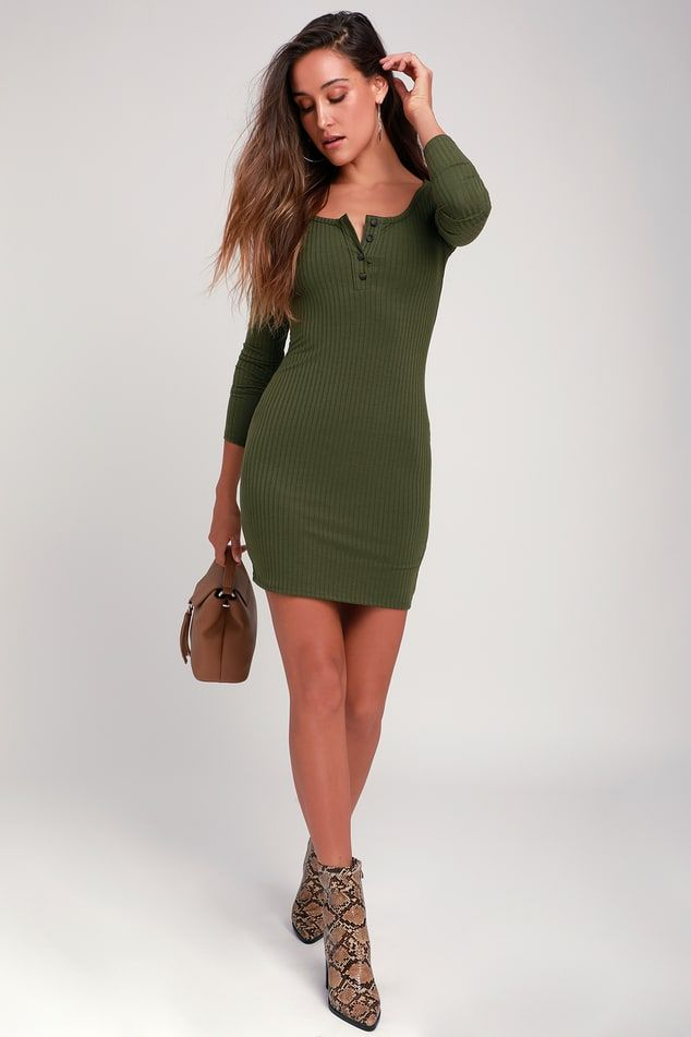 ccc3f5982f57 Lulus | Krissy Olive Green Ribbed Knit Long Sleeve Bodycon Dress ...