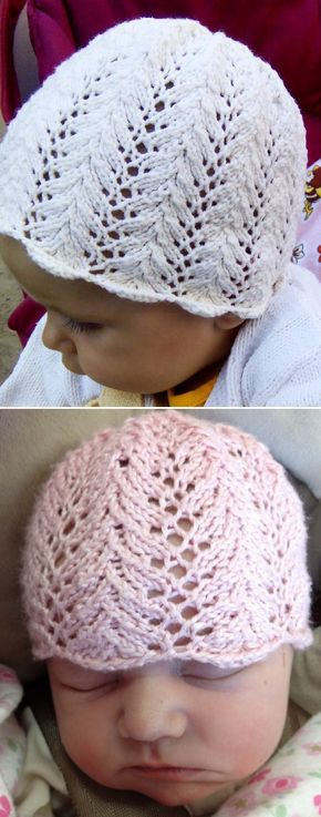 Free Knitting Pattern for Vine Lace Baby Hat - This adorable baby hat comes in sizes preemie, newborn, 3-6 mos. Designed by Sandi Wiseheart . Pictured projects by gello-e and cchapman.