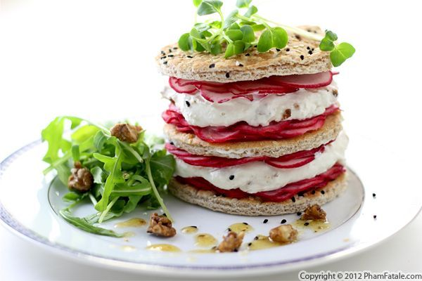 Inspired by #Spago's Beet Napoleon, Pham Fatale created this Radish and Goat Cheese Napoleon #Recipe!