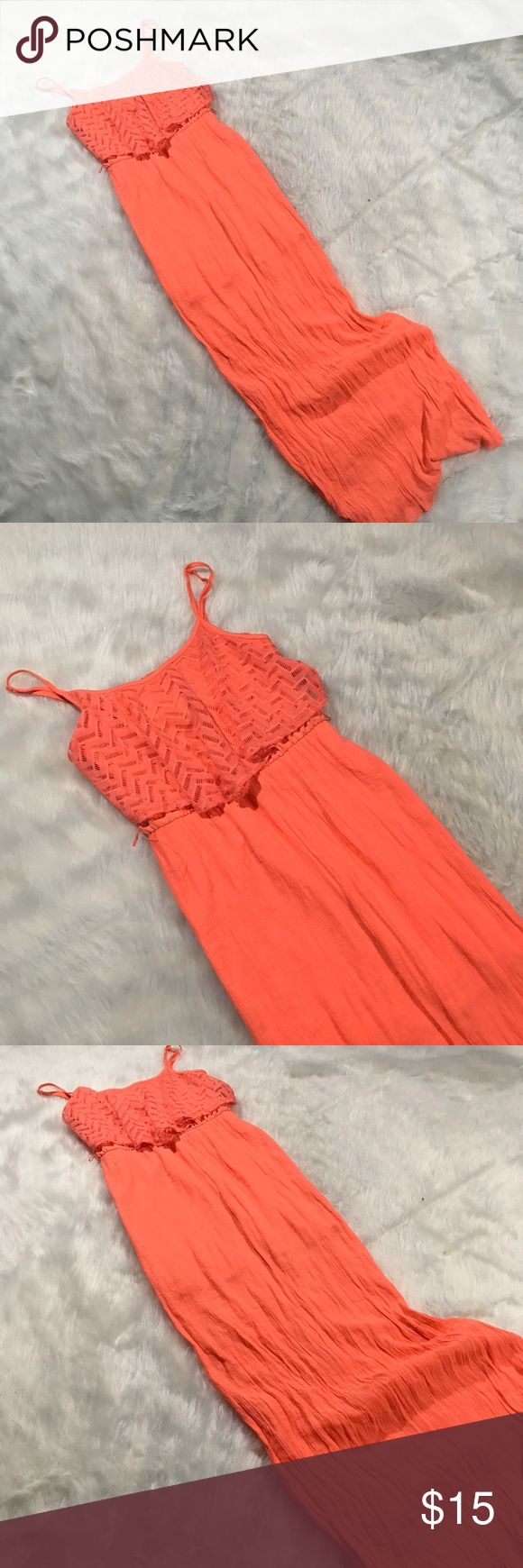 "Trixxi Coral Maxi Dress Size M Spaghetti Strap Trixxi Coral Maxi Dress Size M Spaghetti Strap Textured Material Summer Beach  Size- See measurements  Measurements: Armpit to armpit- 31"" Waist un-stretched- 26"" Length- 55"" Trixxi Dresses Maxi"