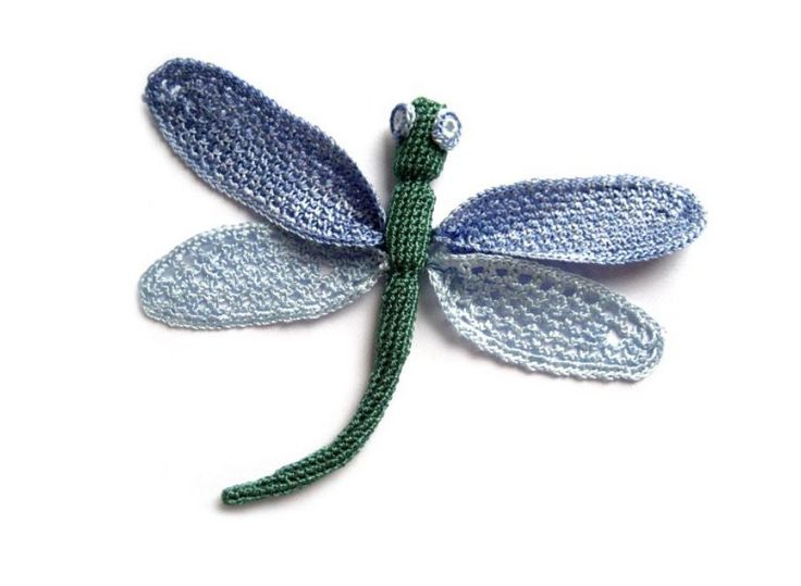 Crochet Dragonfly Applique with Diagram