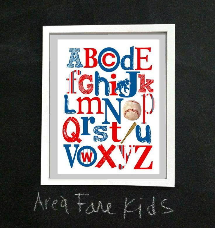 CHICAGO Cubs baseball ABC Nursery Art Print by AreaFareKids, $15.00