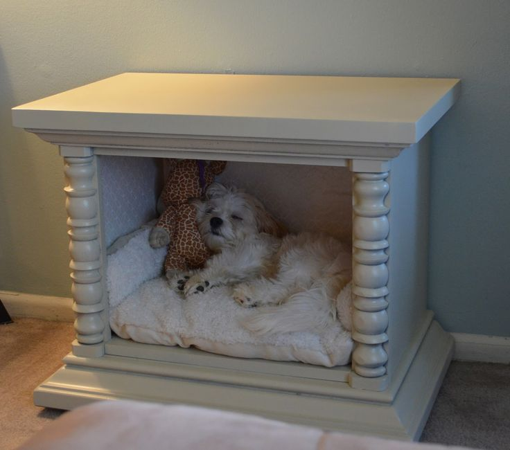 Diy end table pet bed woodworking projects plans for Making a dog bed out of a table