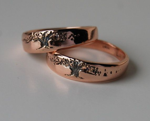 Rose gold wedding rings his and hers