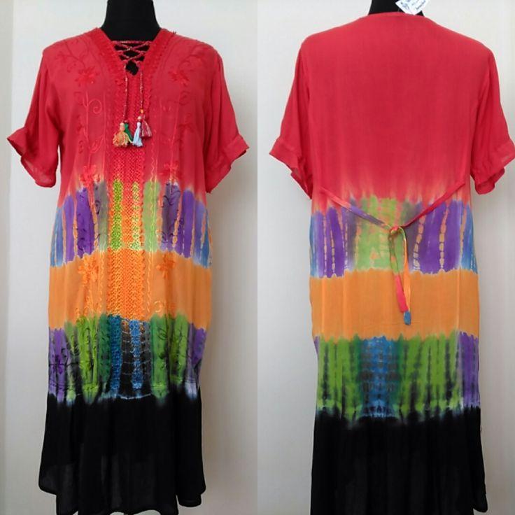 Rainbow Embroidered Dress Women's Plus size Bohemian dress Retro Hippie Dress 90s Grunge Dress Indie #style #shopping #etsyshop