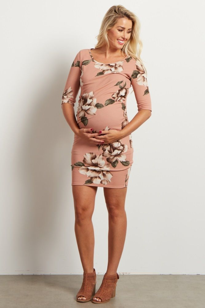 Light Pink Floral Fitted Maternity Dress