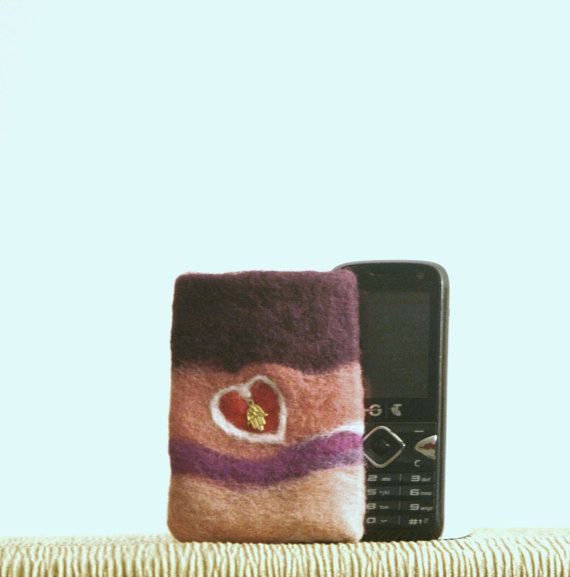 """WOOL Hand on Heart PHONE SLEEVE, Felt Cover,  $9 """"GENUINE SALE """" 60% and more OFF the Original Price, on MOST items! I have REDUCED PRICES on Everything"""" Except my latest Pieces!""""  I am still Adding more WEEKLY ,and I like to change around my stock and keep it Fresh!  https://www.etsy.com/au/your/shops/FELTBYNARELLE"""