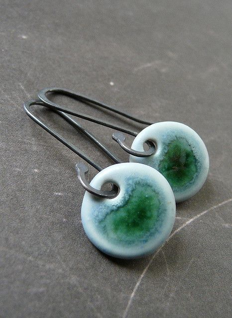 Tiny Dots in Lagoon - Porcelain Earrings | Flickr - Photo Sharing!