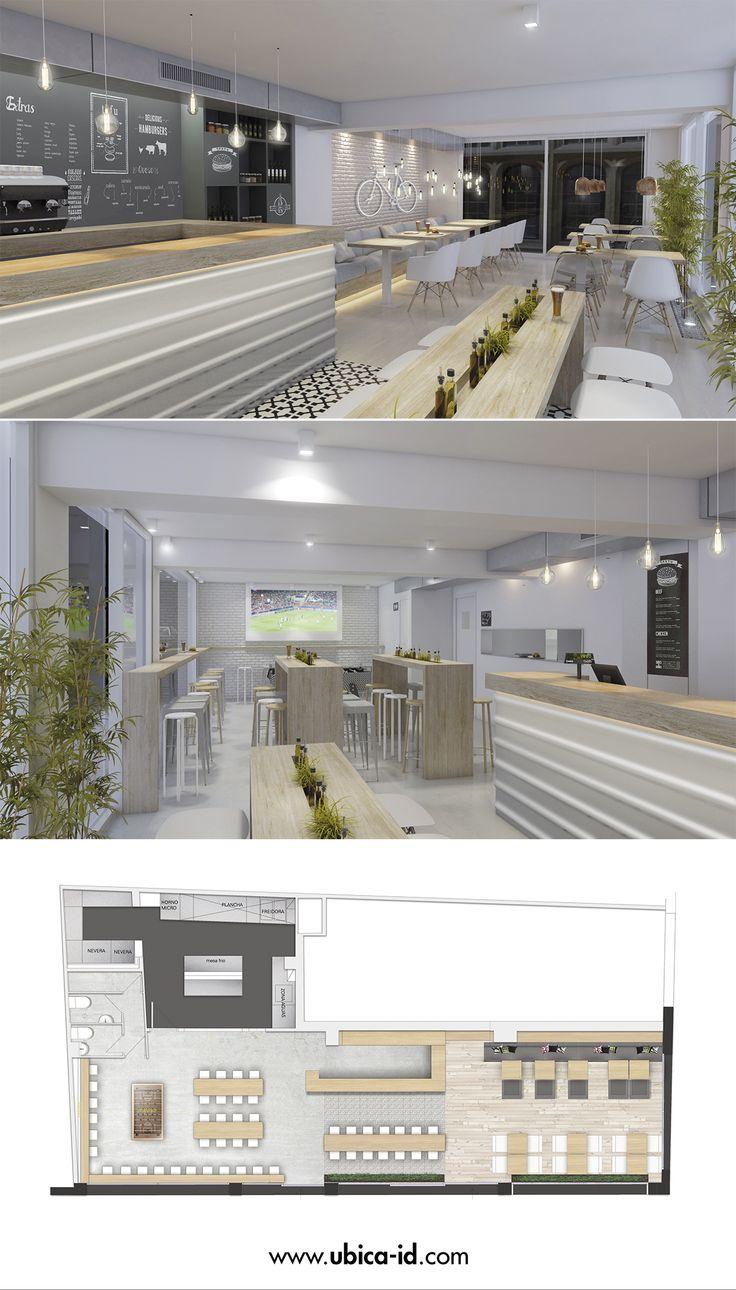 Proyecto De Hamburguesería En Barcelona #interiordesign #Render  #Interiorrender