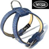 Original Denim Dog Harness | The Dog Bar - This is a classically stylish dog harness made from the highest quality denim and genuine leather materials. It provides a casual look for both boys and girls.  Made in NYC and available only at The Dog Bar.