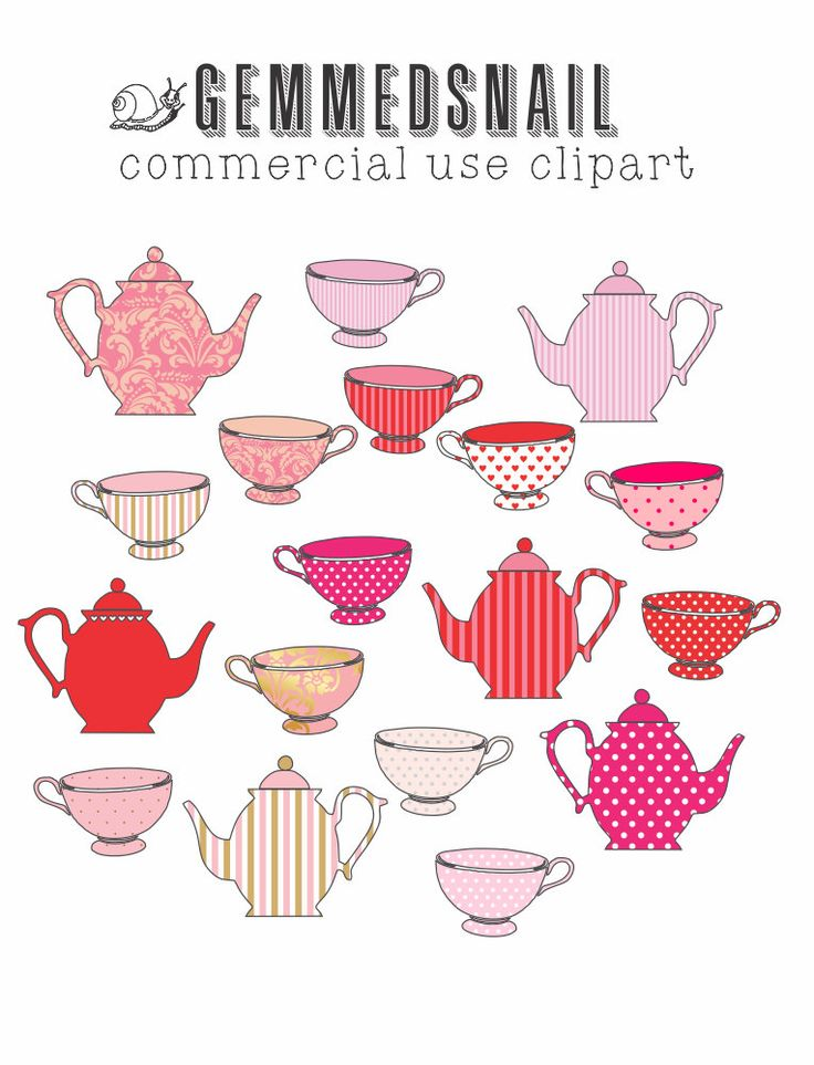 Tea party clip art, tea set clipart, pink clipart with pink tea cups and pink teapots with red and gold too