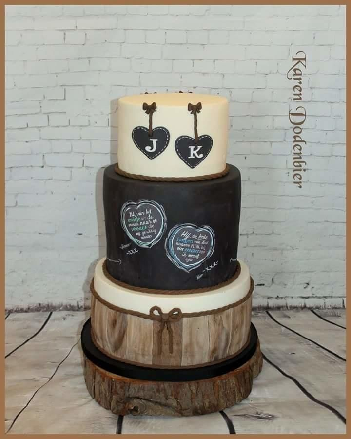 Chalkbord and wood wedding cake by Karen Dodenbier
