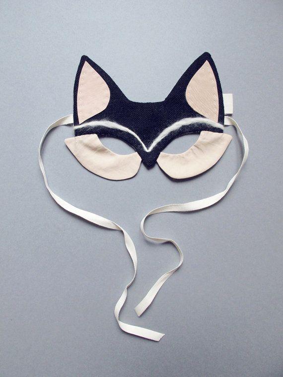 Masque renard noir en lin et cuir par lucillemichieli sur Etsy, €42.00
