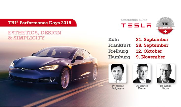 TRI® on tour in Germany! New products will be shown followed by scientific lectures from Dr. Marius Steigmann, Dr. Torsten Kamm and Dr. Achim Sieper. You also don't want to miss the oppurtunity to drive a TESLA! It is definitely worthwile to subscribe for our stops in Cologne, Frankfurt, Freiburg and Hamburg!