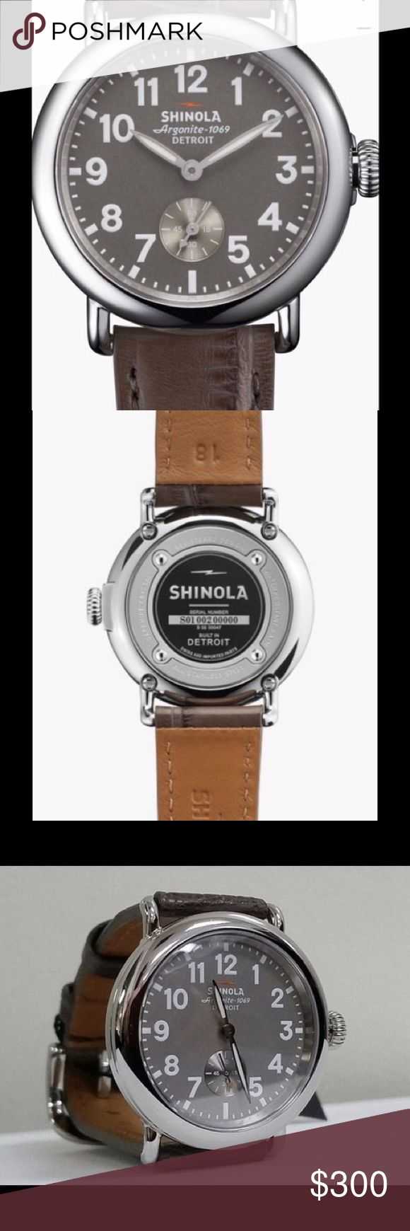 "Shinola Runwell 36mm Watch Alligator Leather Strap 2 DAY SALE ! Made by hand with the desire to craft the finest watches with the choicest materials—the Shinola Runwell watch collection boasts American-made movement with Swiss parts. Featuring a classic field watch design with a sleek, round dial and bold numerals—the Runwell artistically defines the Shinola mantra, ""Where American is made."" Shinola Accessories Watches"