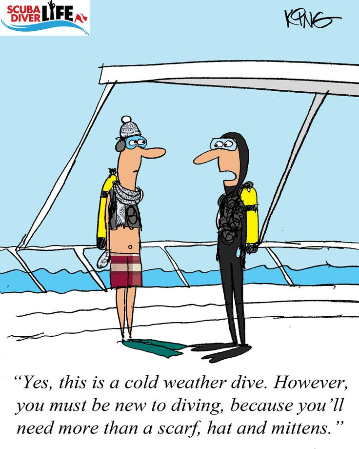 Scuba Cartoon - Cold Water Diving  