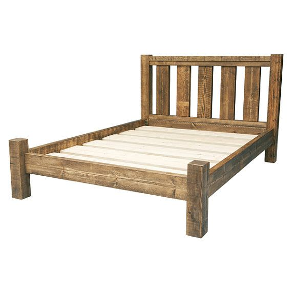 Rustic Solid Wood Bed Frame with Slatted Headboard
