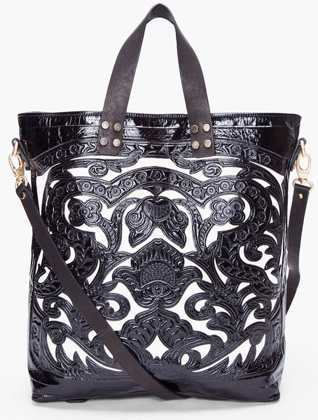 Black Marie Embossed Tote by Balmain