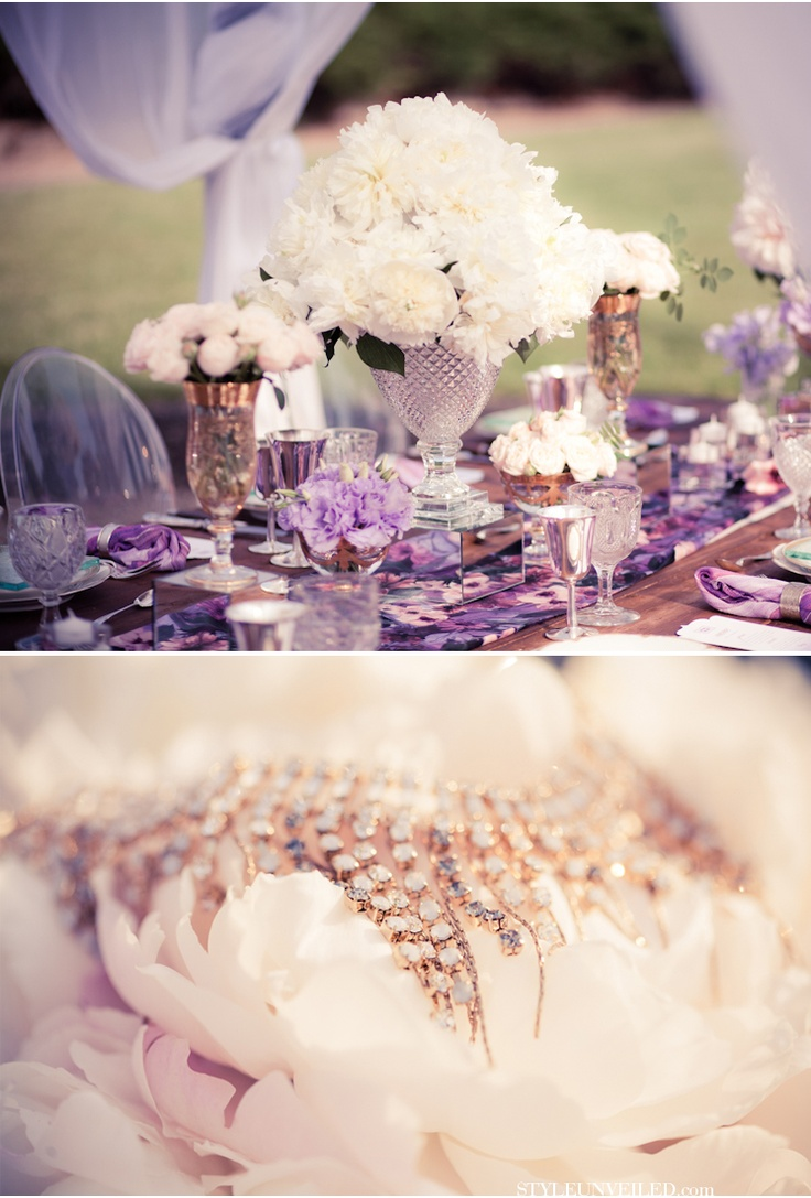 black white purple wedding reception%0A Tuscan wedding inspiration IV