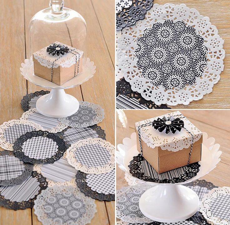 DIY Bodas: Manteles y bajo platos realizados con blondas en blanco y negro