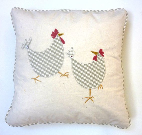 Two Hens embroidered & appliqued Cushion. by TheSkinnyCardCompany,
