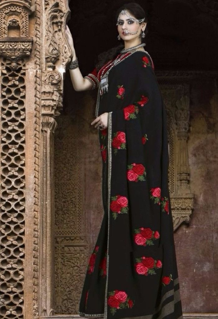 Black Designer Rajsthani Resham Saree@ fashionsbyindia.com #designs #indian #fashion #womens #style #cloths #fashion #stylish #casual #fashionsbyindia #punjabi #suits #saree #wedding