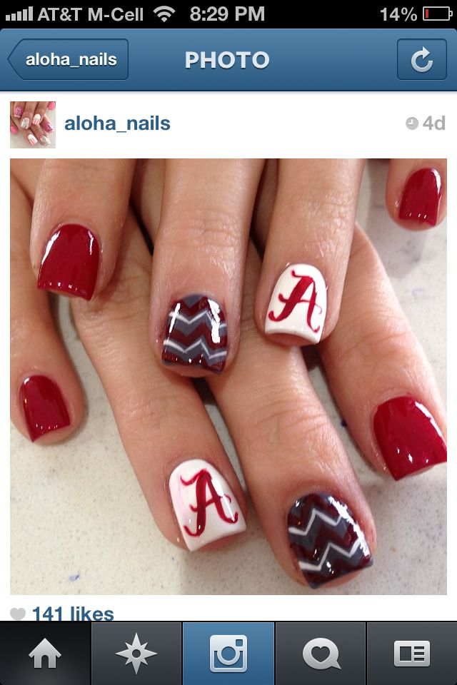 Collegiate University of Alabama nails - Best 25+ Alabama Nails Ideas On Pinterest Alabama Nail Art