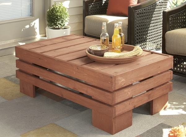 Beverage Table - Lowes Creative Ideas deck-my-deck-out: Projects, Coffee Tables, Creative Ideas, Beverages Buckets, Beverages Tables, Outdoor Tables, Patio Tables, Low, Buckets Inside