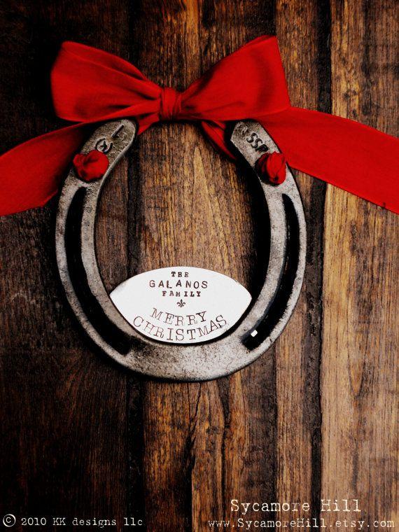 CUSTOM - The Fleur De Lis Merry Christmas Horseshoe (TM) - Personalized Equestrian Welcome Decor for Your Home