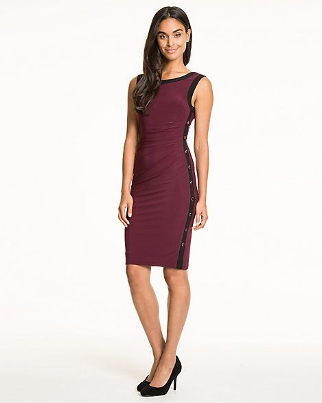 Jersey Boat Neck Fitted Dress
