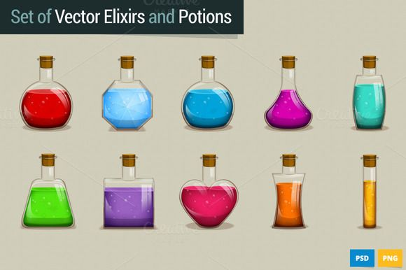 Set of Vector Potions and Elixirs by iamwowu on @creativemarket
