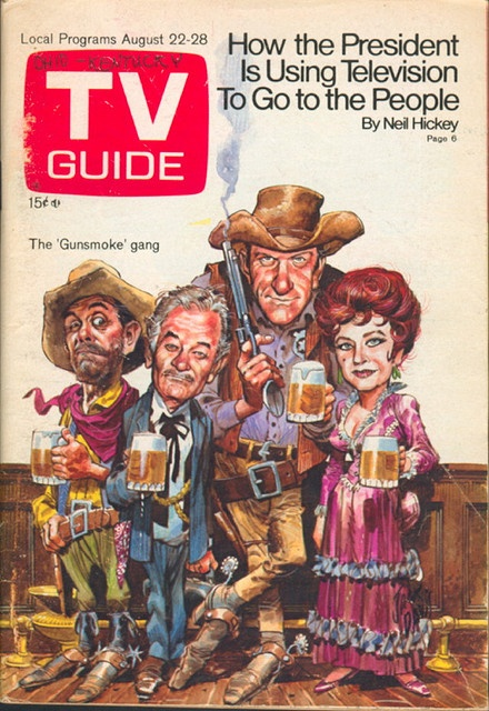 "August 22, 1970. Ken Curtis, Milburn Stone, James Arness, and Amanda Blake of CBS's ""Gunsmoke"" (illus. by Jack Davis). Writing on cover by a previous owner of this issue."