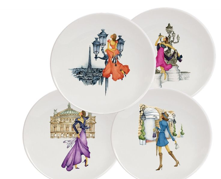 """Haviland - A tribute to the """"Parisienne"""" and the main sites of Paris. A collection of moments that appreciate French elegance and the art of living. The four Madames invite you to discover the most beautiful city in the world. A collection for sharing gâteau and tea with friends. Shop now https://boulesse.com/en/product/3382/Haviland/Le-Paris-de-Madame-Plates"""