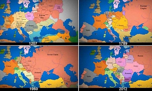 Un mileniu de istorie europeană în doar 4 minute. Vezi cum s-au modificat graniţele ţărilor în 1012 ani | Actualitatea Online