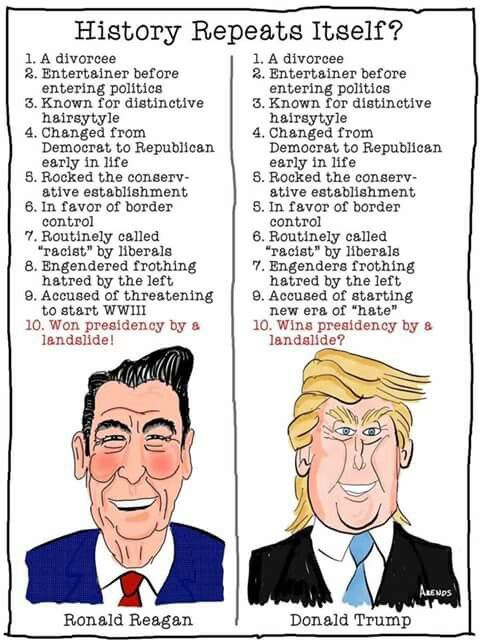 History repeats itself . . . | Donald Trump Reagan was the best president ever elected. So if history is repeating itself ,according to this,then electing Trump would be an amazing thing.