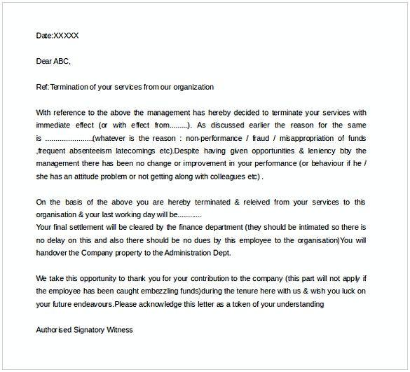 Template Termination Letter Format Sample Letter Format Sample