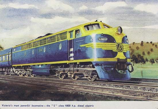 Spirit of Progress S-class diesel electric locomotive, circa 1960. Inscription: Victorias Most Powerful Locomotive - The S Class 1800 h.p. Diesel Electric. Description: Diesel engine with passenger carriages attached. Engine has Victorian Railways logo on front and is painted in blue and gold livery. Location: Victoria, Australia Date: circa 1960