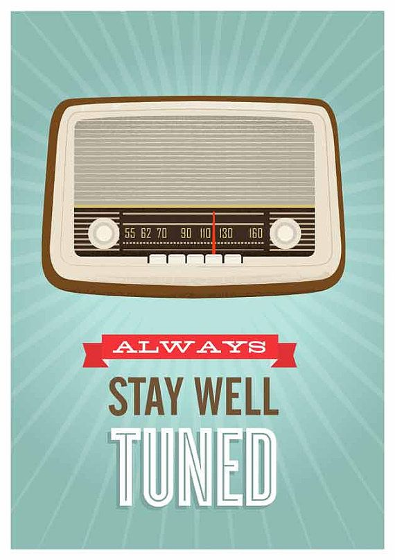 Retro poster quote print Motivational art vintage radio by handz