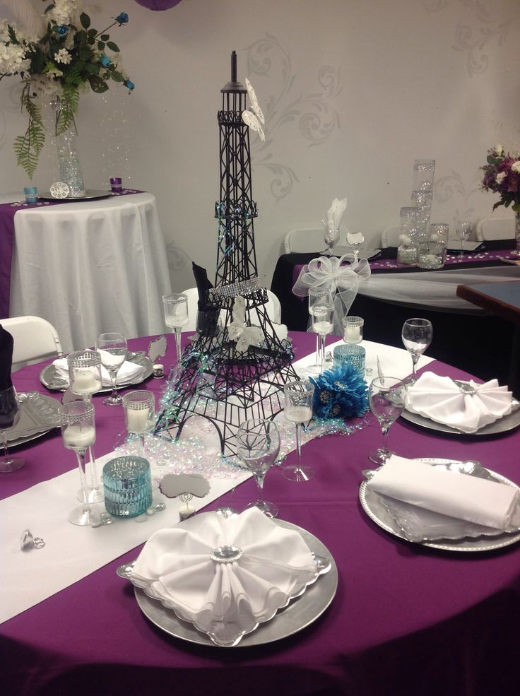 Paris themed wedding table setting wedding ideas dayton for Wedding party decorations