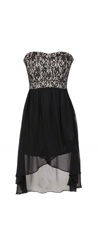 Lily Boutique Black and Nude Lace Bustier Chiffon High Low Dress, $38  www.lilyboutique.com
